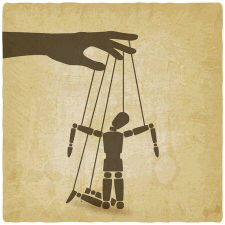 Puppet marionette on ropes is broken man on vintage background. Vector illustration