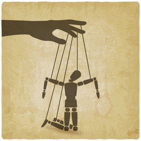Puppet marionette on ropes is broken man on vintage background. Vector illustration