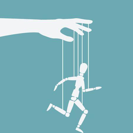 Puppet marionette on ropes is running man. Vector illustration 向量圖像
