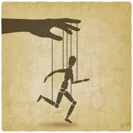 Puppet marionette on ropes is running man on vintage background. Vector illustration