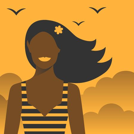 Smiling girl with a flower in her hair on holiday. Vector Illustration