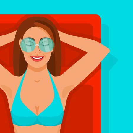 Girl with glasses on inflatable mattress in pool. Vector Illustration