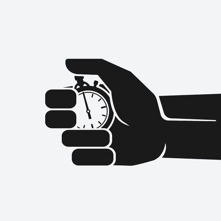 Countdown. Stopwatch in hand on white background. Vector Illustration