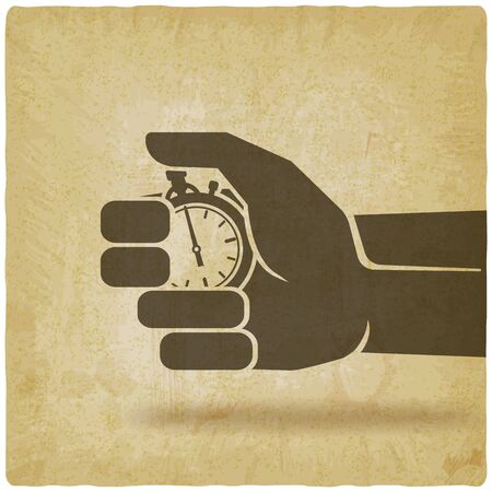 Countdown. Stopwatch in hand on vintage background. Vector Illustration