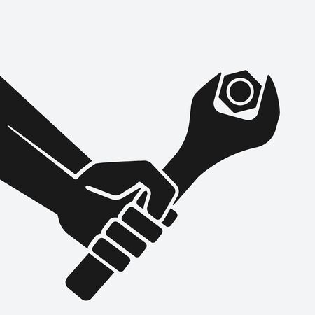 Hand with spanner tightening nut. Vector illustration Banque d'images - 149479471