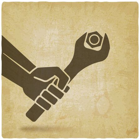 Hand with spanner tightening nut on vintage background. Vector illustration Иллюстрация