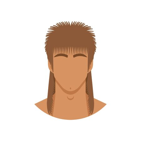 Face of man with mullet haircut. Vector illustration 向量圖像