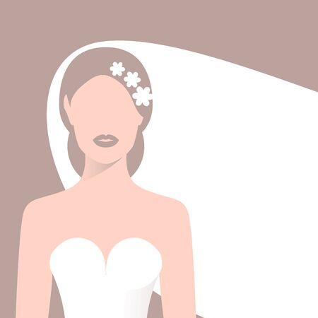 Bride in wedding dress and veil. Vector Illustration
