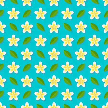 Plumeria flowers on blue background seamless pattern. Vector illustration
