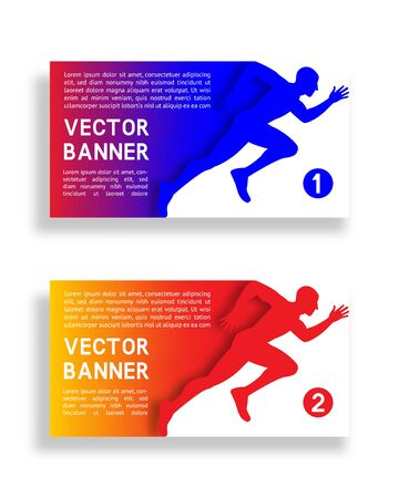 Set of gradient banners with running man. Vector illustration