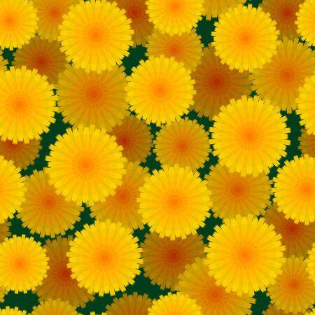 Yellow dandelions seamless pattern. Vector Illustration 向量圖像