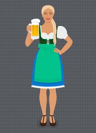 Girl in Traditional Bavarian folk costume dirndl with beer. Vector Illustration