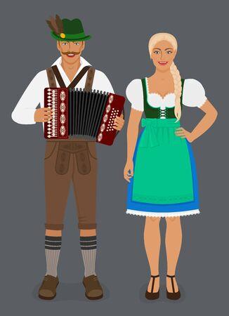 Bavarian man in lederhosen with accordion and girl in Dirndl. Vector Illustration 向量圖像