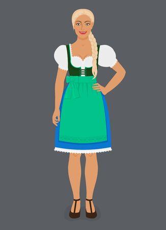 Girl in Traditional Bavarian folk costume dirndl. Vector Illustration