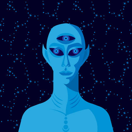 Three-eyed alien on background of starry sky. Vector illustration