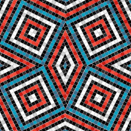 Antique tile rhombus pattern mosaic seamless pattern. Vector illustration 일러스트