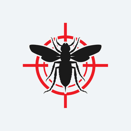 Asian giant hornet icon red target. Vector illustration