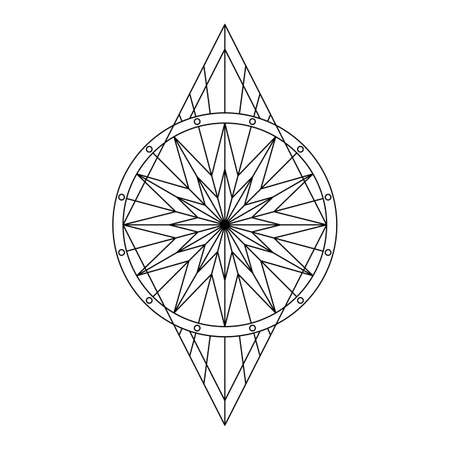 Black geometric symbol stylized floral pattern. Vector illustration