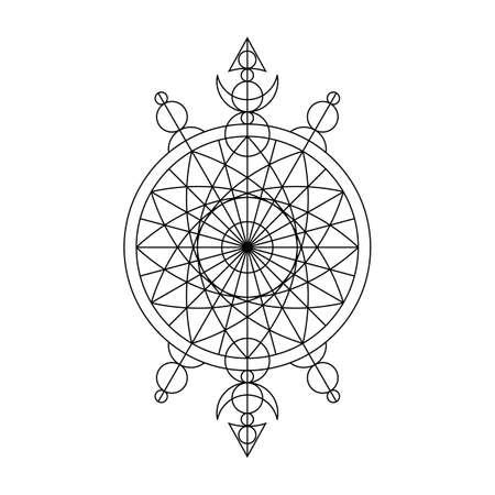 Black spiritual mystical line symbol. Vector illustration
