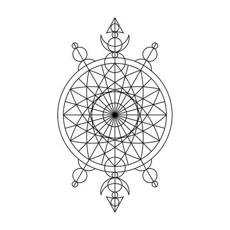 Black spiritual mystical line symbol. Vector illustration