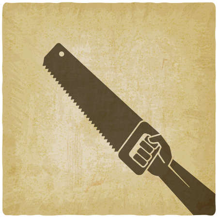 Hand ith saw on vintage background. Vector illustration