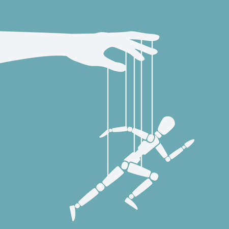 Puppet marionette on ropes is running man. Vector illustration Illustration