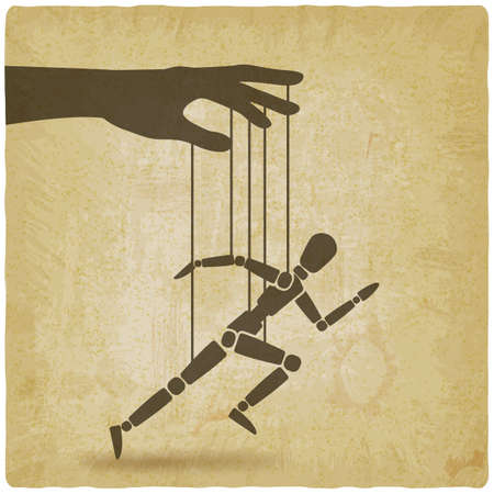 Puppet marionette on ropes is running man vintage background. Vector illustration