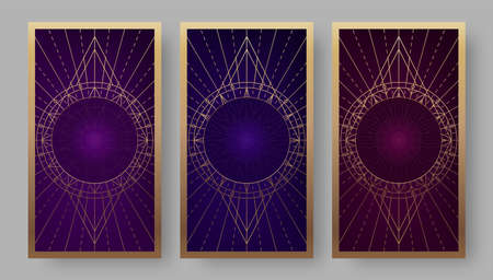 Tarot cards back set with geometric symbols. Vector illustration