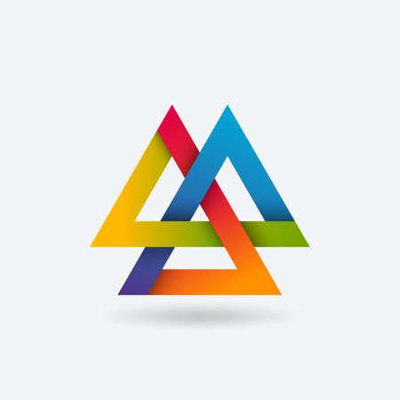 Valknut symbol of three interlocked triangles in rainbow gradient colors. Vector illustration