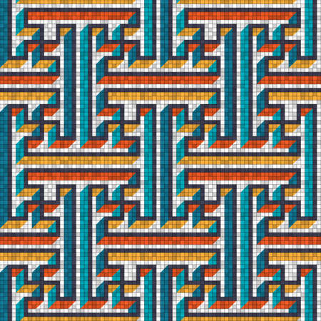 Mosaic seamless pattern in oriental style. Vector illustration
