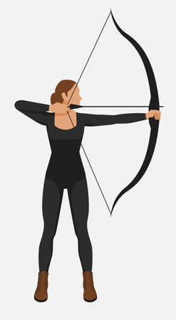 Female athlete shoot bow and arrow. Vector illustration 일러스트