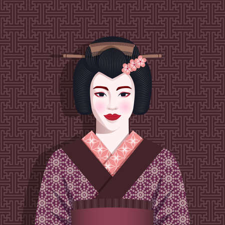 Portrait of geisha in kimono. Vector illustration