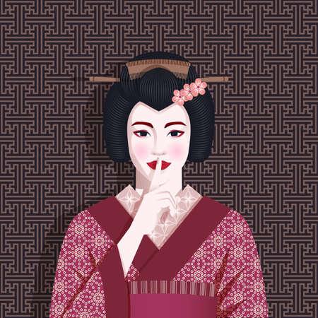 Portrait of geisha holds finger to her lips. Illustration