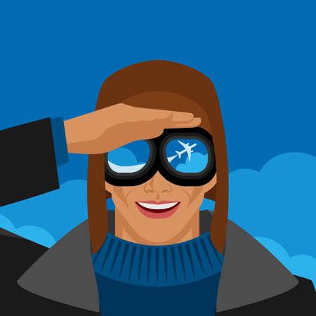 Pilot in aviation glasses looks at flying plane. Vector illustration