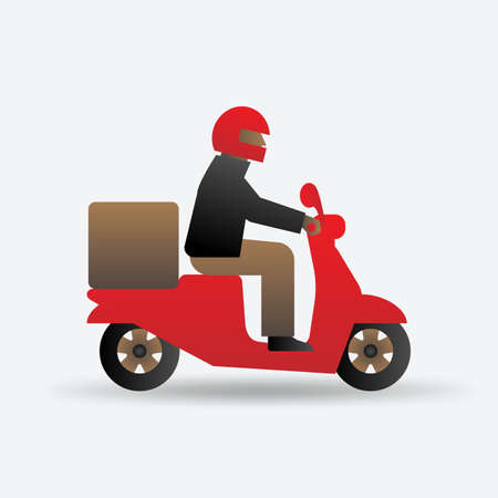 Delivery food service. Man on motorcycle. Vector illustration Illustration