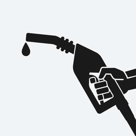 Black silhouette hand with gasoline fuel nozzle. Vector illustration