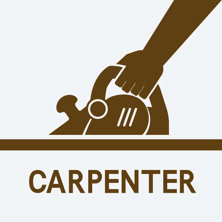 Carpentry. Hand with electric planer. Vector illustration.