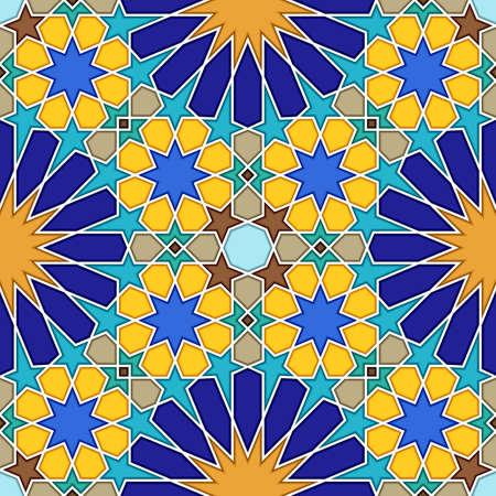Traditional geometric colorful arabic islamic seamless pattern. Vector illustration 向量圖像