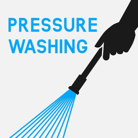 Pressure washing. Hands with Spray Gun. Vector illustration