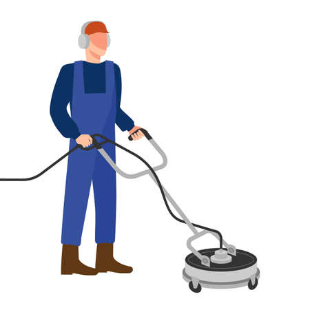 Man with pressure washer surface cleaner. Vector illustration