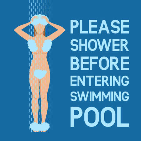Woman taking shower. Sign please take shower before the swimming pool. Vector illustration.