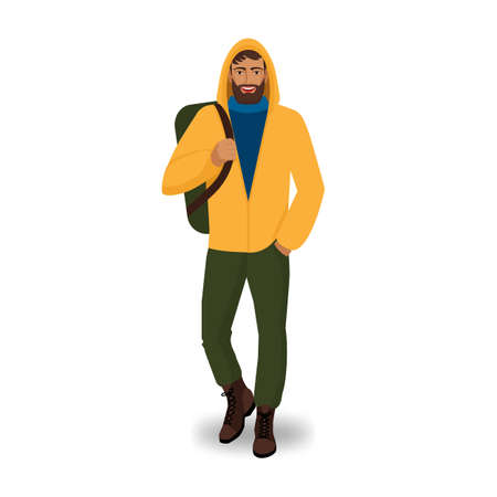 Male tourist in yellow jacket with backpack. Vector illustration Illustration