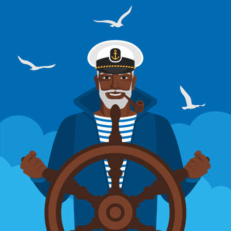 Black male sailor in cap with pipe at helm of ship. Vector illustration Illustration