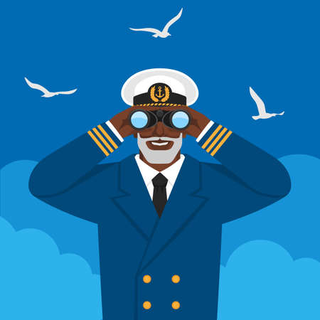 Black male captain looking through binoculars against cloudy sky and seagulls. Vector illustration