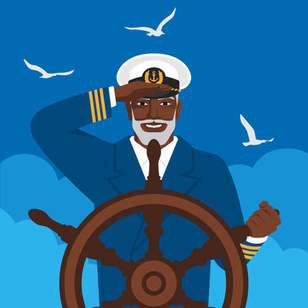 Black male captain looks into distance standing at helm of boat. Vector illustration