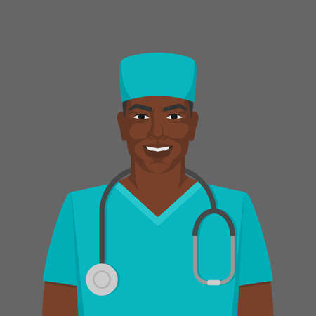 Black male doctor medic man with stethoscope. Vector illustration