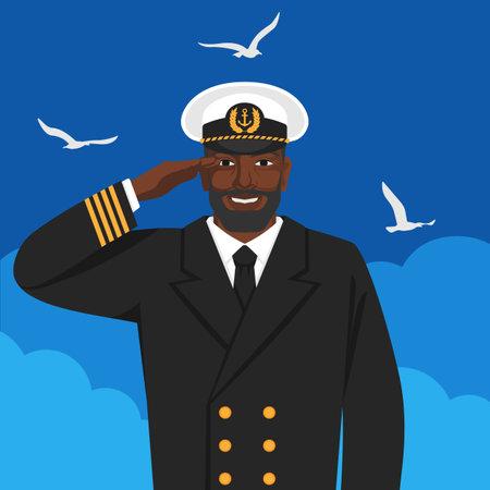 Black male captain of sea ship in uniform saluting. Vector illustration Illustration