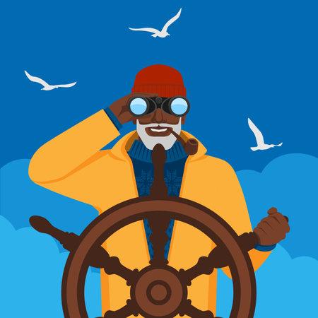 Black male fisherman looking through binoculars standing at helm of boat. Vector illustration