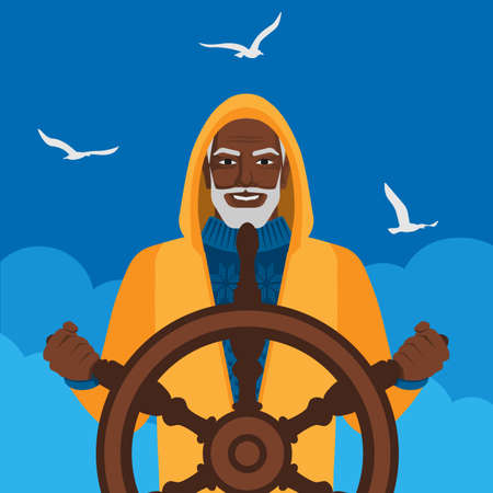 Black male fisherman at helm against cloudy sky and seagulls. Vector illustration