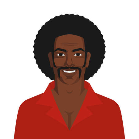 Handsome black man with retro afro hairstyle. Vector illustration Illustration